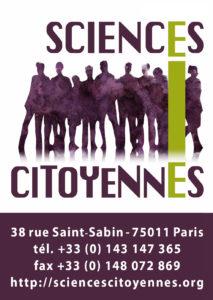 Logo Sciences Citoyennes (carré, avec coordonnées et texture)