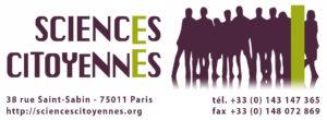 Logo Sciences Citoyennes (long, avec coordonnées en dessous et sans texture)