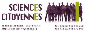 Logo Sciences Citoyennes (long, avec coordonnées en dessous et texture)